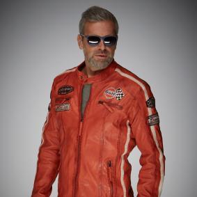 Steve McQueen Le Mens Gulf Racing Style Stripes Veste en Cuir pour Homme